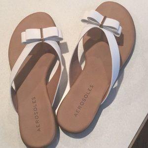 Aerosoles white sandals